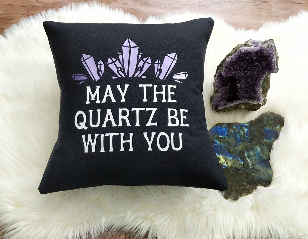 May The Quartz Be With You Black Pillow