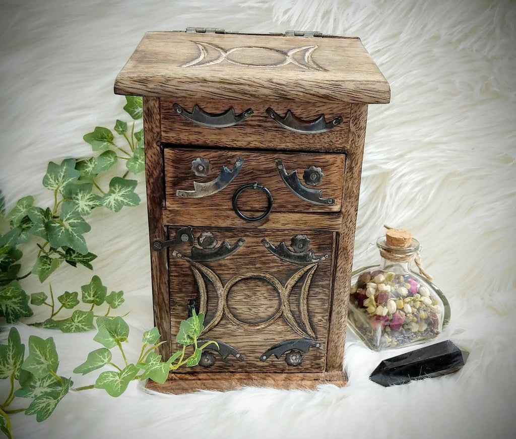 Vintage Inspired Wooden Herb Chest with Triple Moon Goddess Symbol