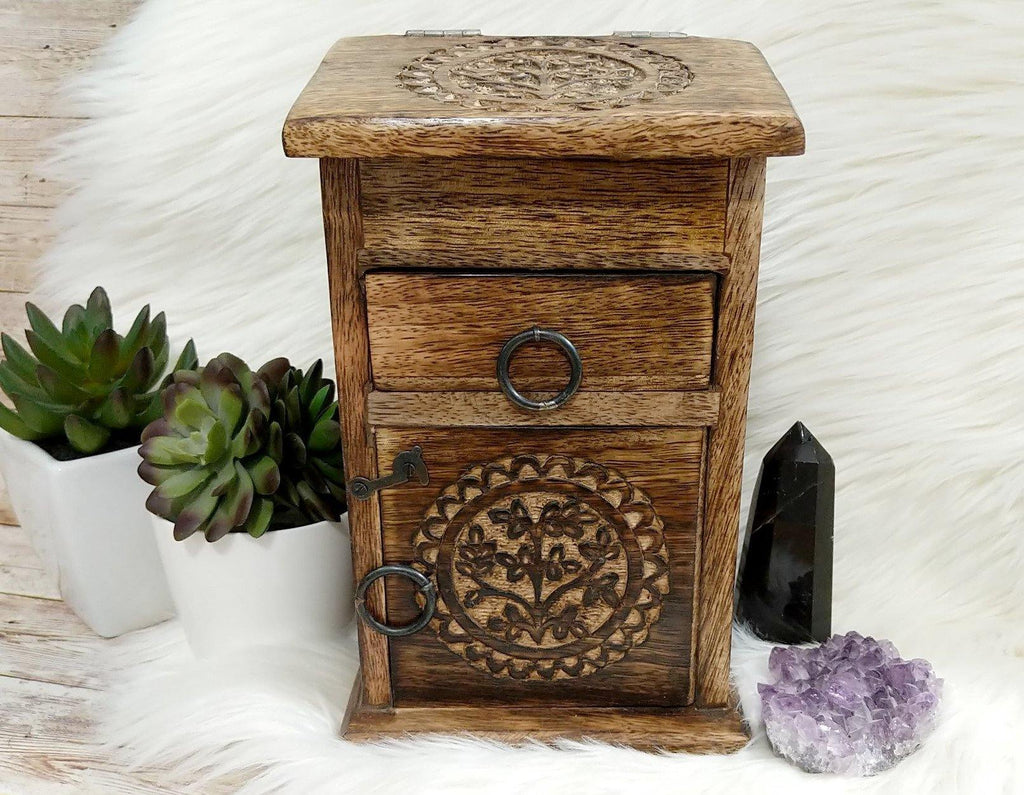 Vintage Inspired Wooden Herb Chest with Sacred Tree of Life Symbol