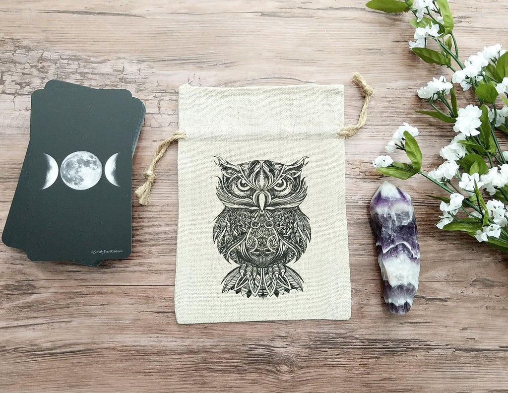 Sacred Owl Tarot Deck Bag | Crystal Pouch | Drawstring Cotton Linen Bag