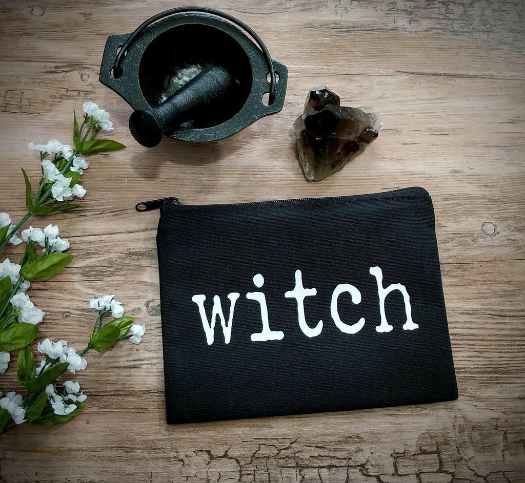 Witch Black Canvas Zipper Bag