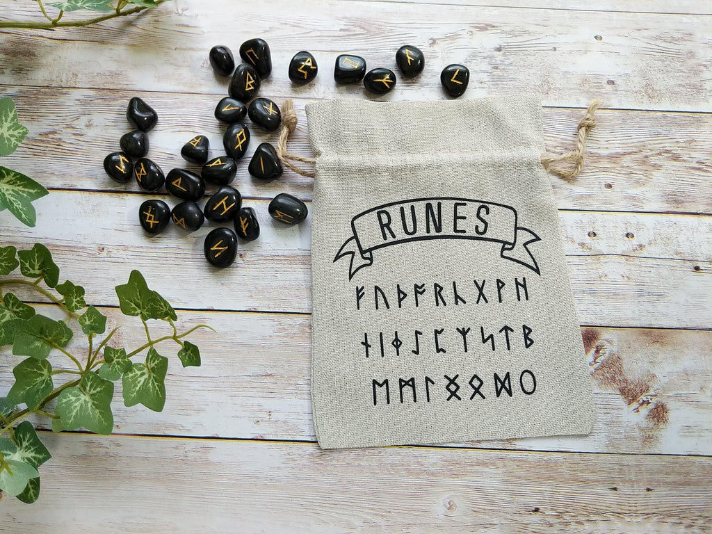 Black Agate Runes Stone Set with Linen Drawstring Bag