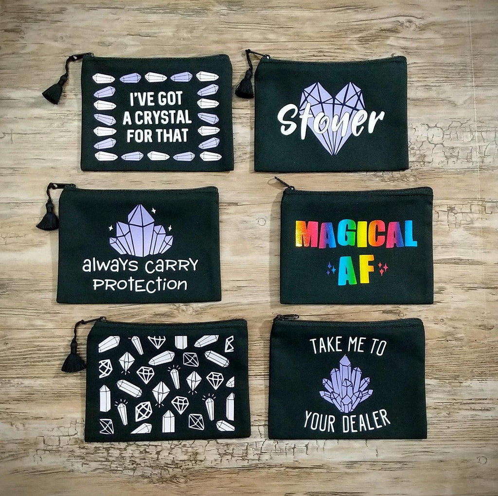 Rainbow Magical AF Black Zipper Bag - The Spirit Den