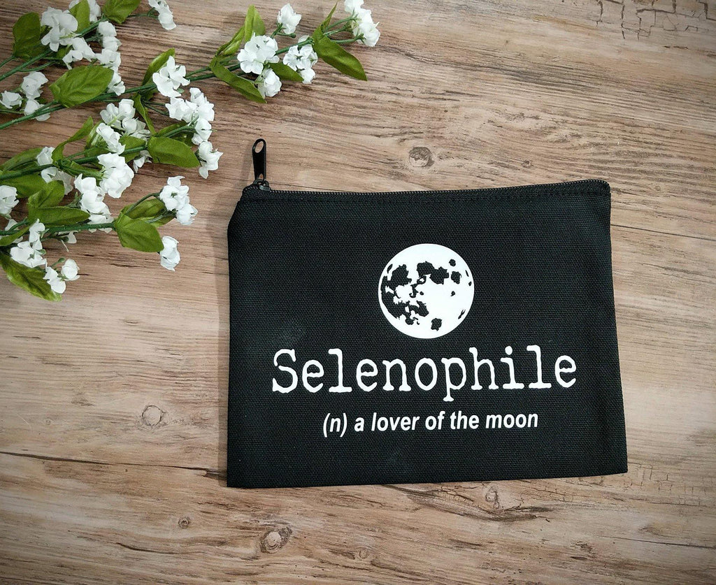 Selenophile Definition Full Moon Black Canvas Zipper Bag - The Spirit Den