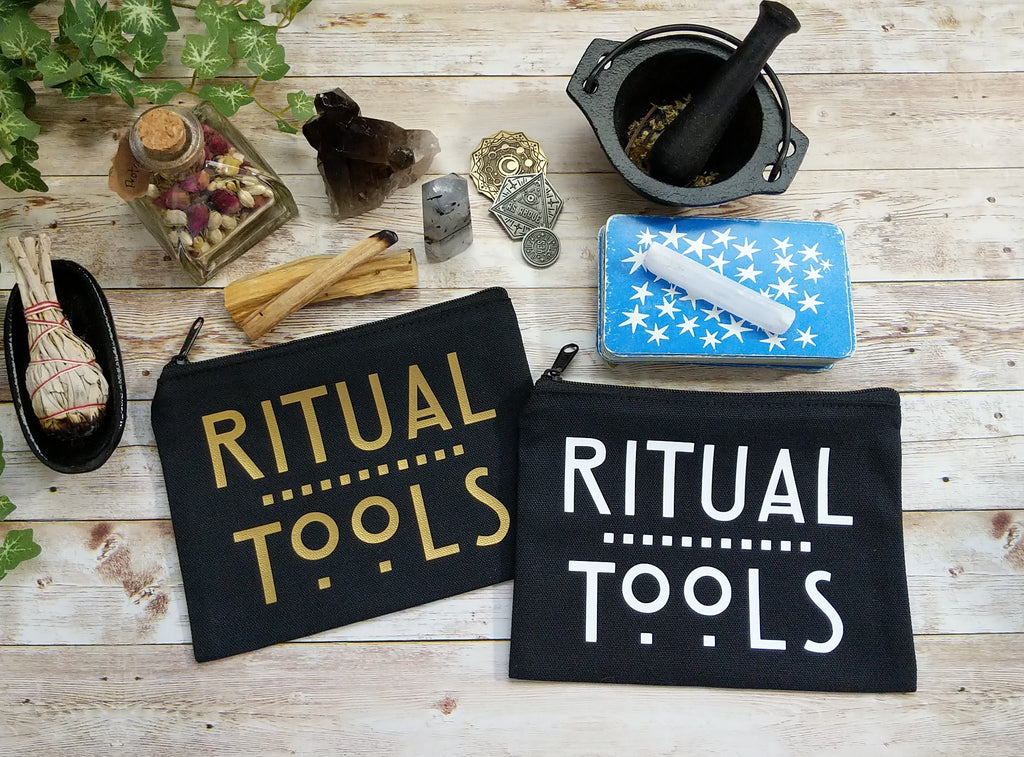 Ritual Tools (Gold) Black Canvas Zipper Bag