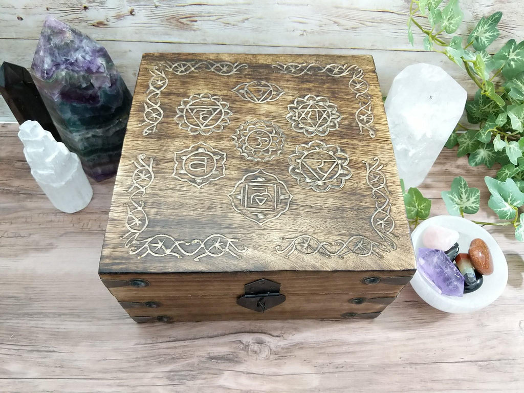 Seven Chakra Symbols Hand Carved Wood Chest Style Box  | Seven Chakras