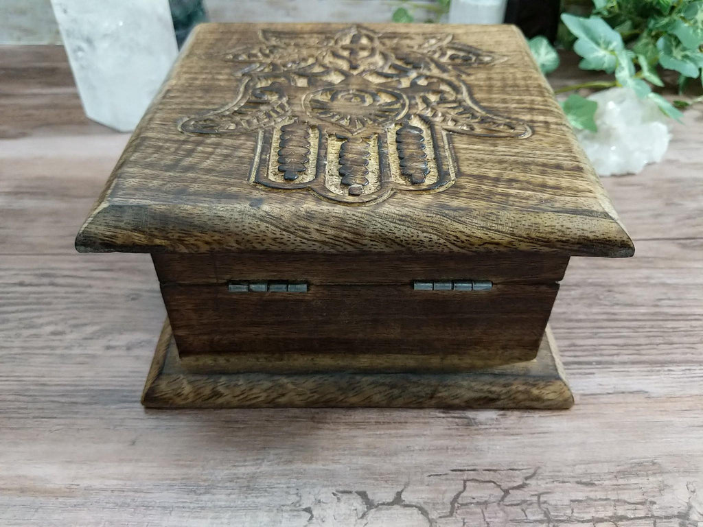 Hamsa Hand ~ Lotus Symbol Hand Carved Wood Chest Style Box | Hand of Fatima Symbol