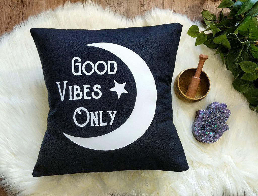 Good Vibes Only Moon Black Cotton Pillow