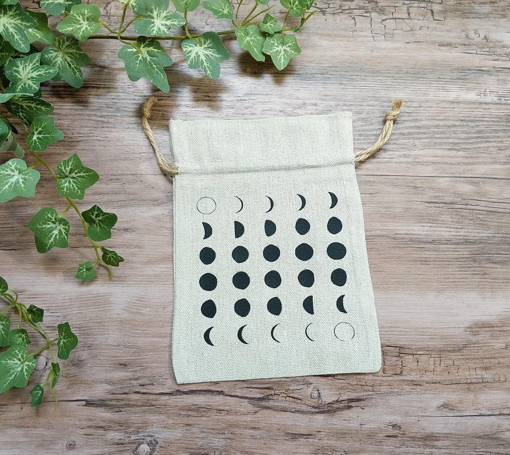 Moon Phases Cotton Linen Drawstring Bag