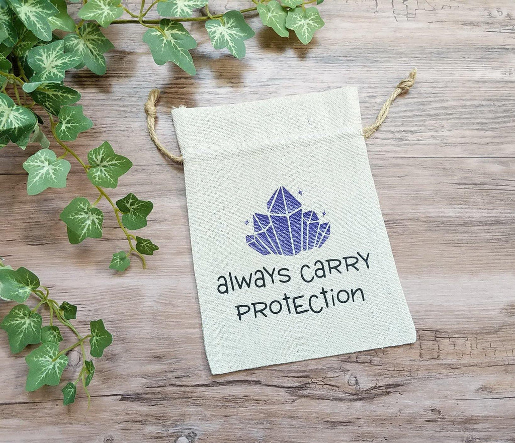 Always Carry Protection Cotton Linen Drawstring Bag