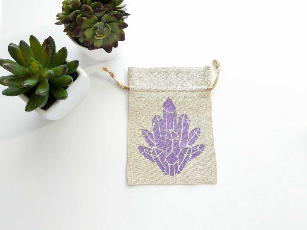 Crystal Cluster Cotton Linen Drawstring Bag