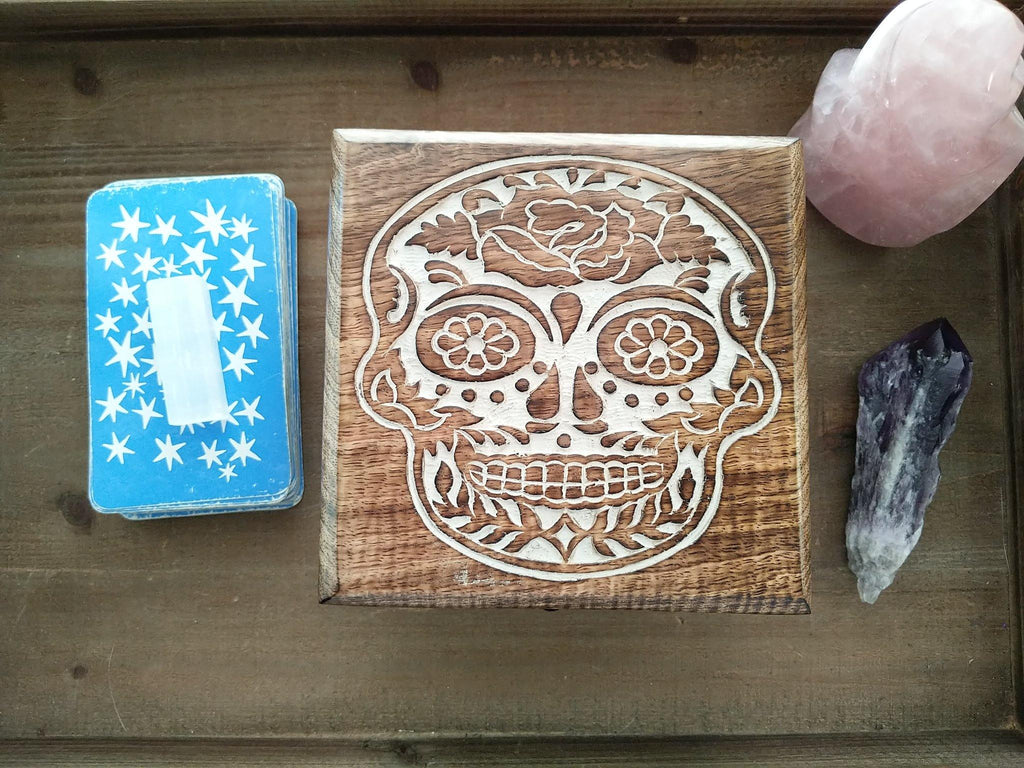 Sugar Skull Symbol Hand Carved Wood Chest Style Box | Hand of Fatima Symbol