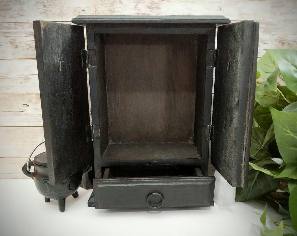 Vintage Inspired Dark Wood Pentacle Altar Cupboard | Altar Storage