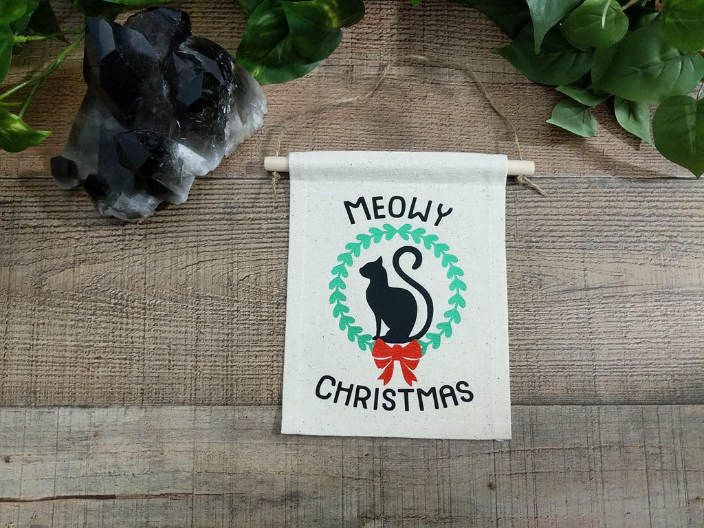Meowy Christmas Kitty Cat Cotton Canvas Wall Banner
