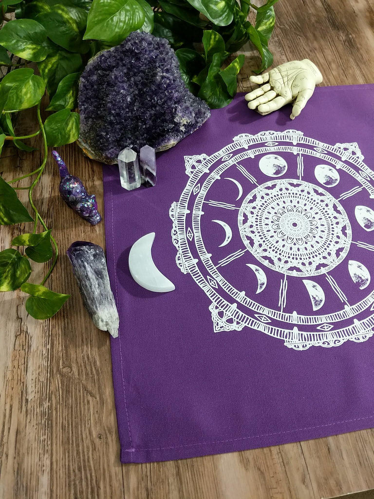 Moon Phases Compass Purple Altar Tarot Cloth - The Spirit Den