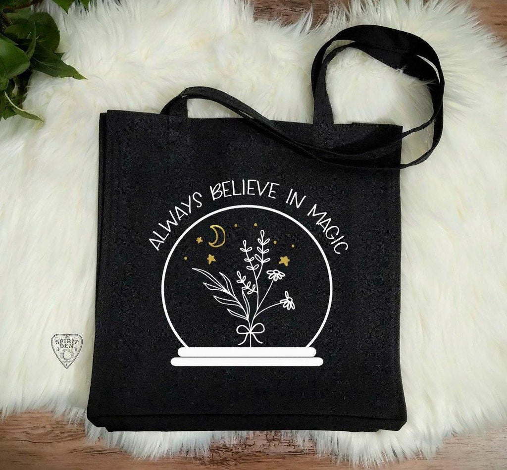 Always Believe In Magic Crystal Ball Black Canvas Market Tote Bag