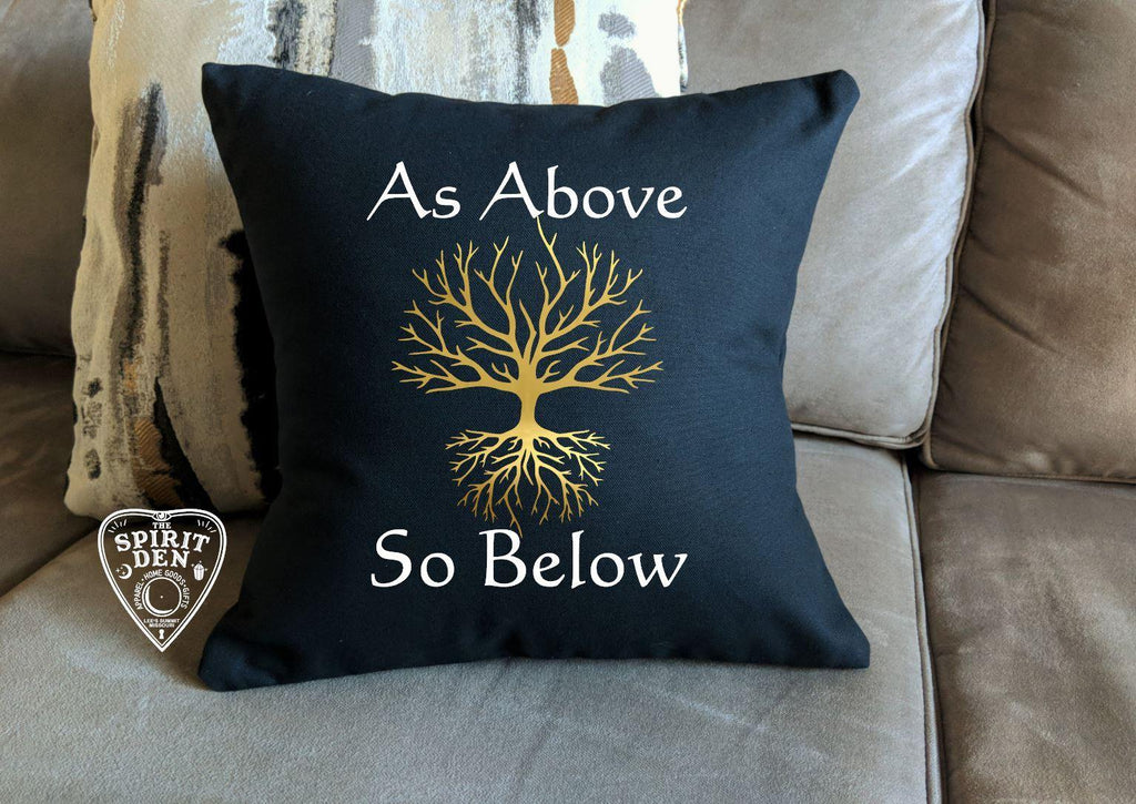 As Above So Below Tree of Life Black Cotton Pillow