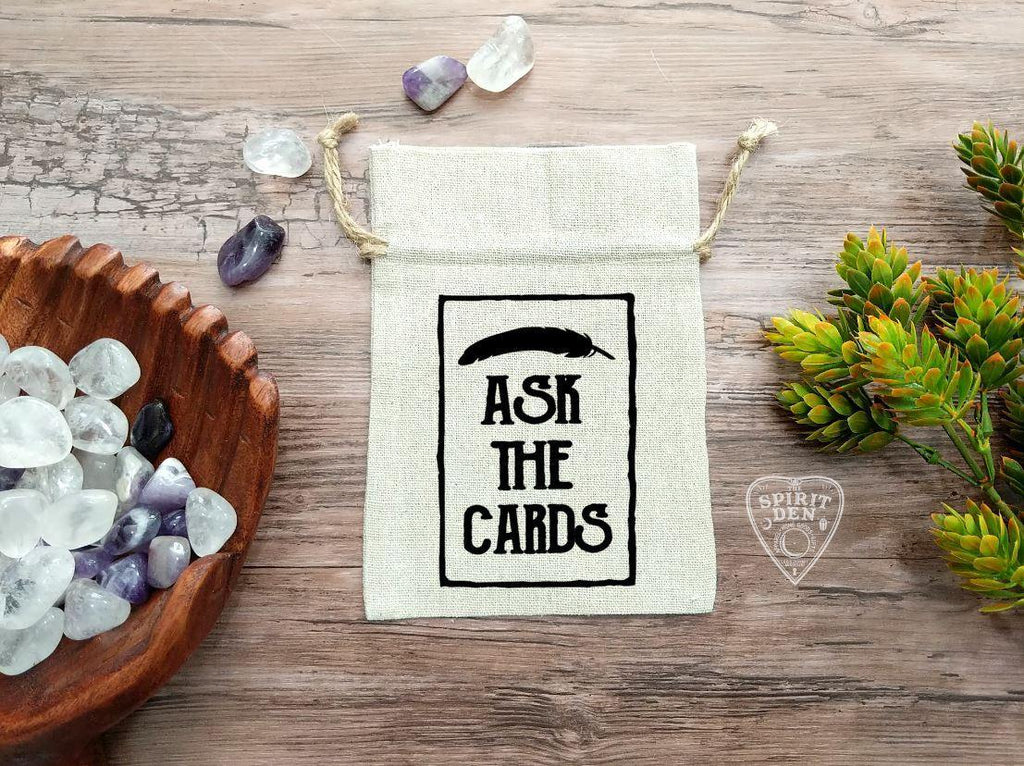 Ask The Cards Feather Design Tarot Drawstring Cotton Linen Bag