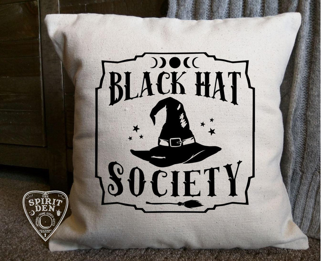 Black Hat Society Witch Hat Cotton Canvas Natural Pillow