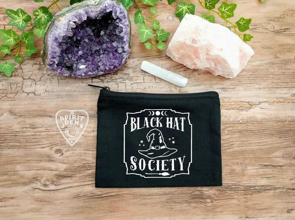 Black Hat Society Witch Hat Black Canvas Zipper Bag
