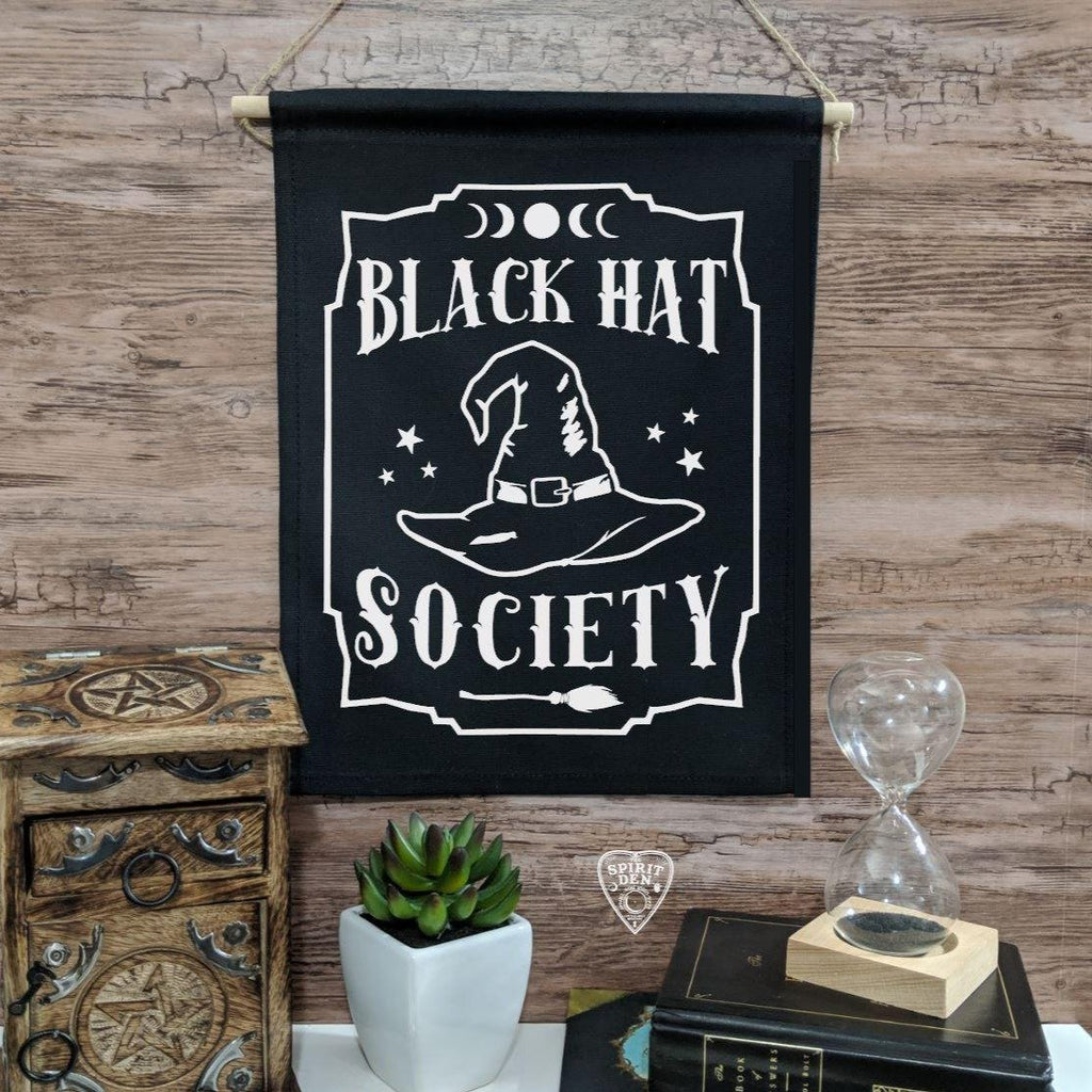 Black Hat Society Witch Hat Black Canvas Wall Banner