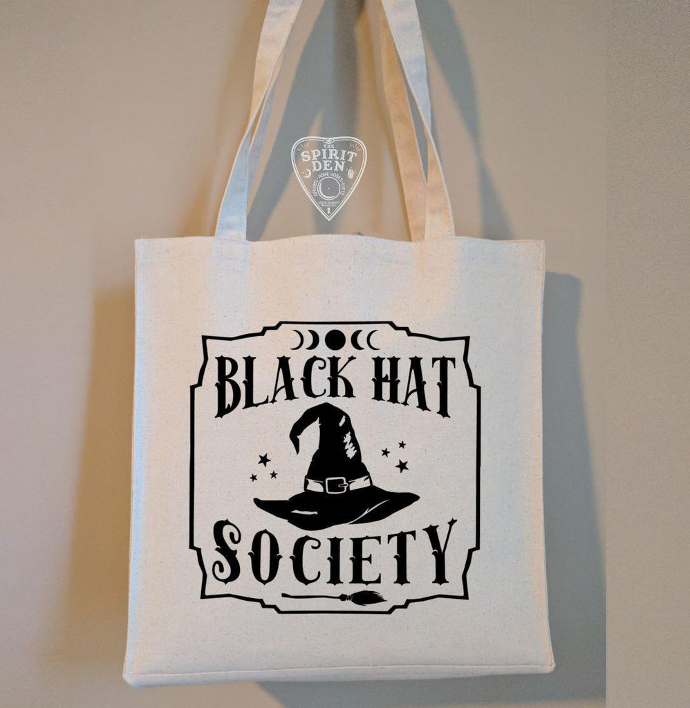 Black Hat Society Witch Hat Cotton Canvas Market Tote Bag