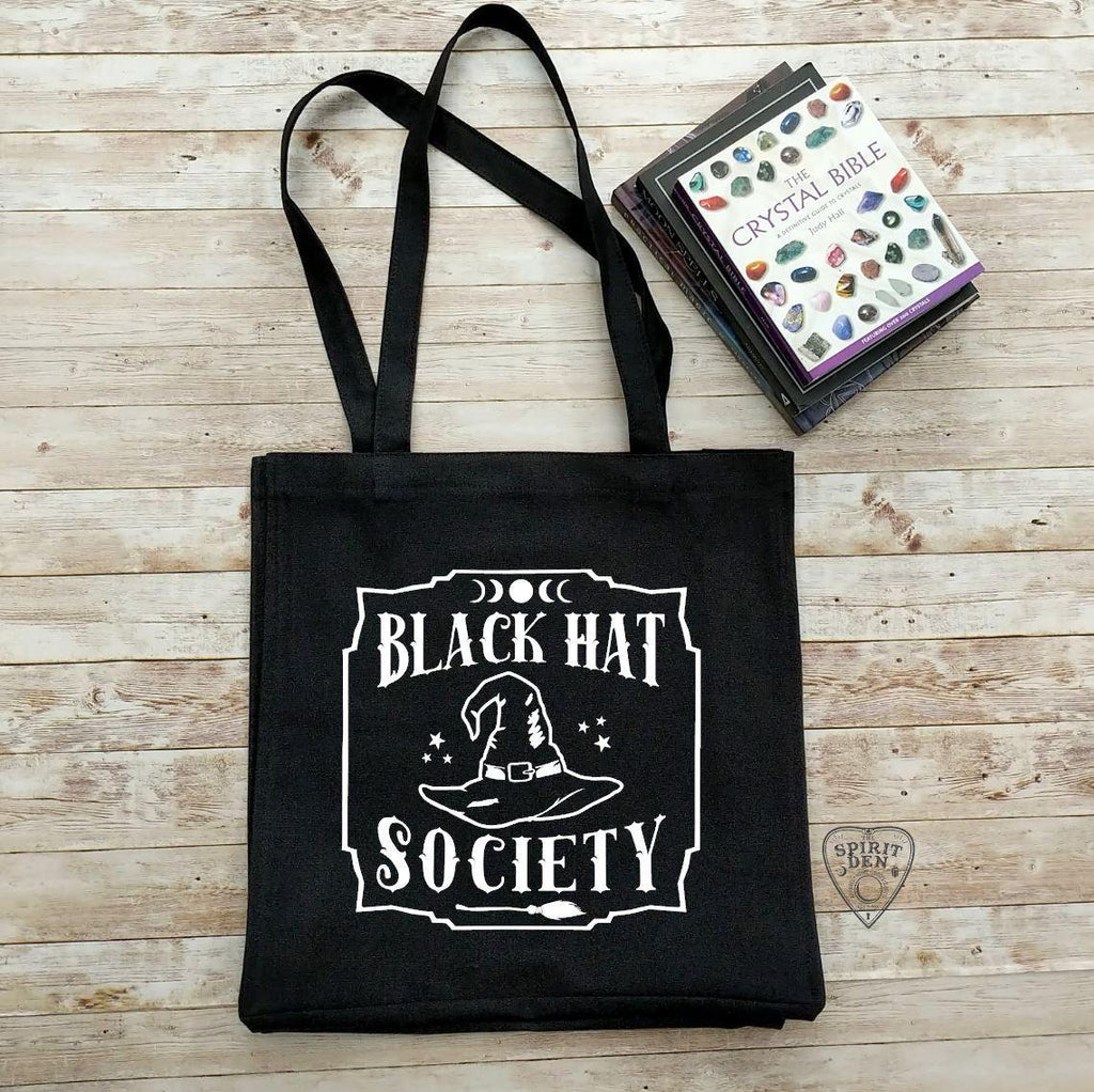 Black Hat Society Witch Hat Black Cotton Canvas Market Tote Bag