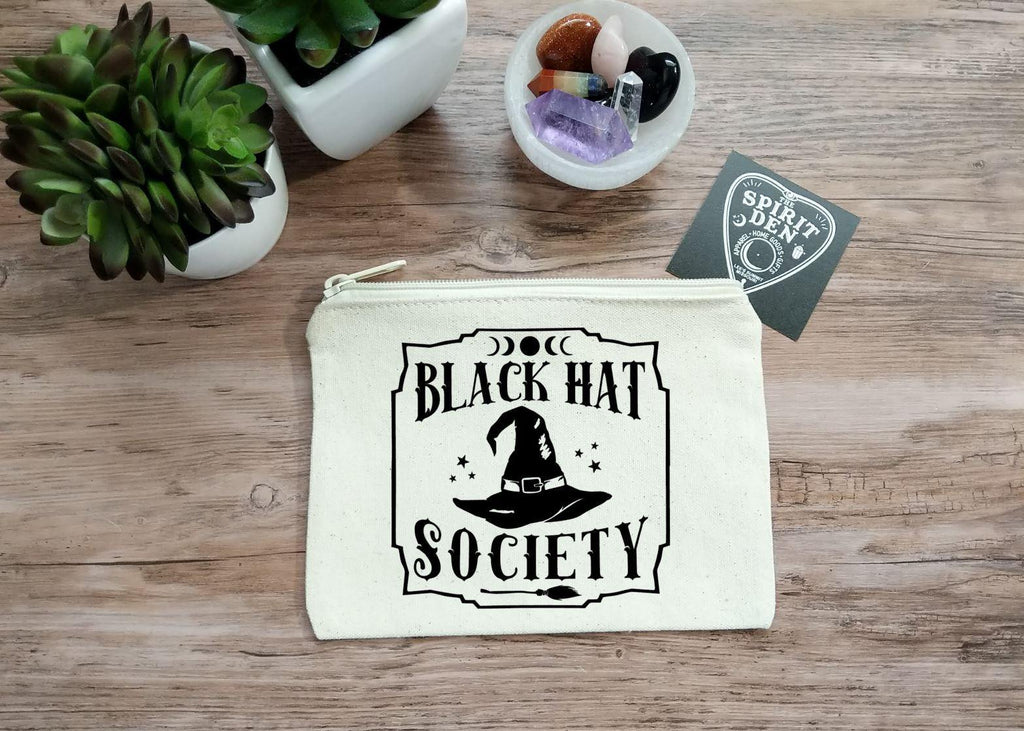 Black Hat Society Witch Hat Canvas Zipper Bag