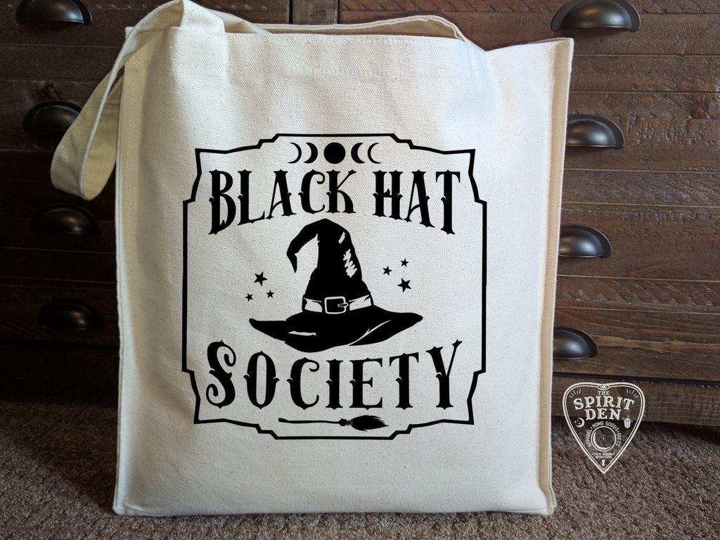 Black Hat Society Witch Hat Cotton Canvas Market Tote Bag - The Spirit Den