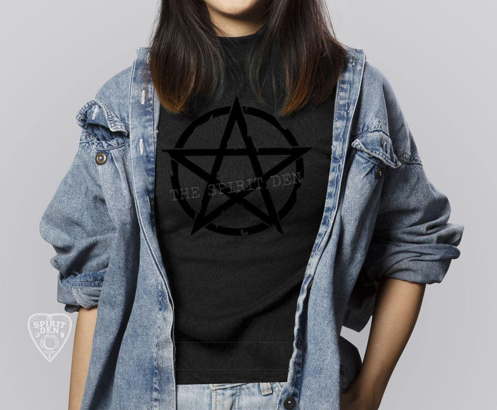 Black on Black Distressed Pentacle T-Shirt