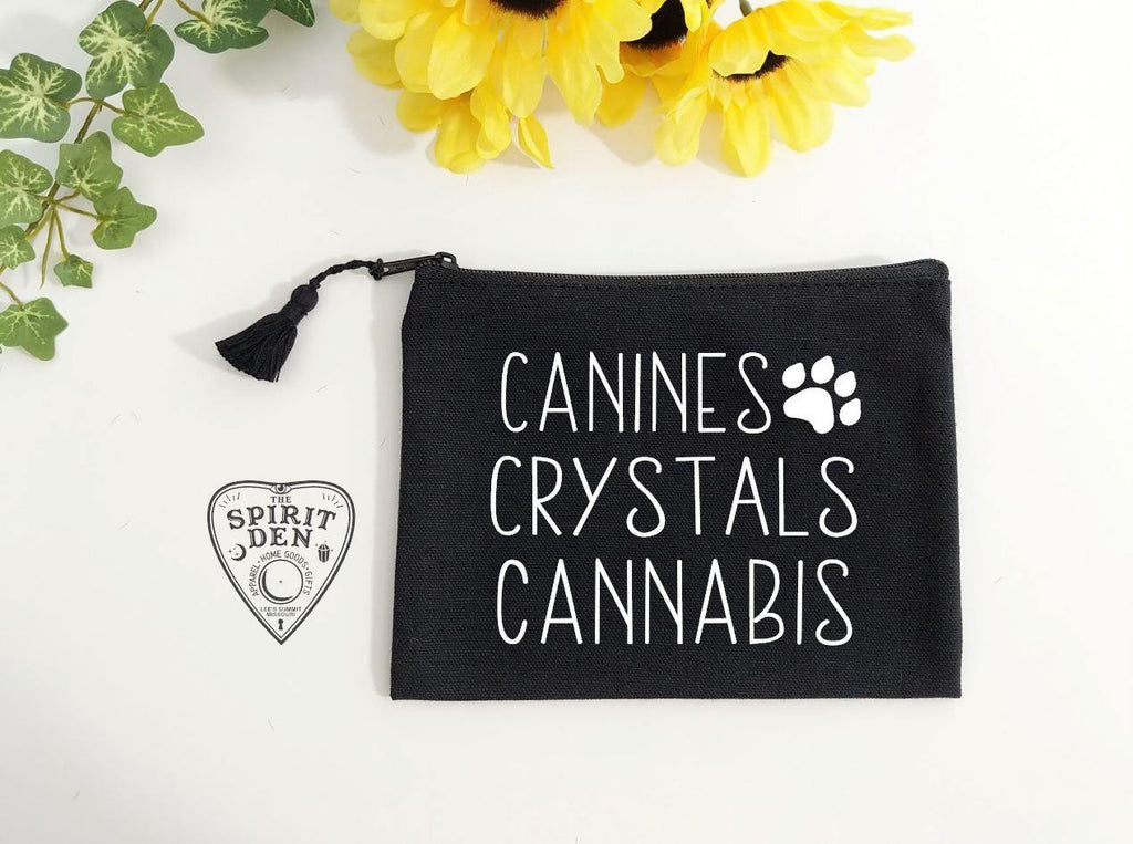 Canines Crystals Cannabis Black Canvas Zip Bag