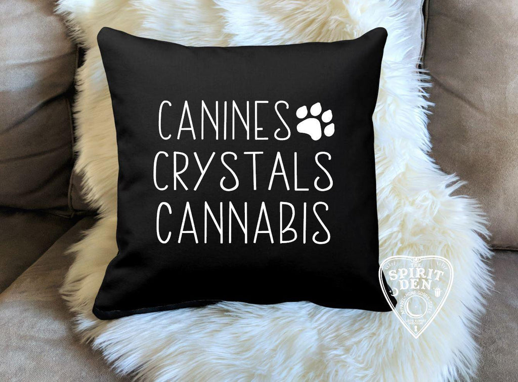 Canines Crystals Cannabis Black Pillow