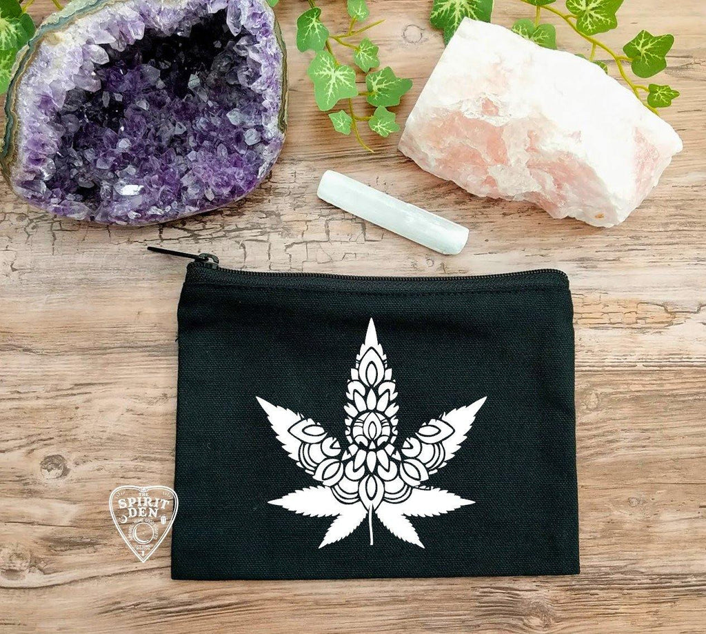 Cannabis Leaf Mandala Black Zipper Bag