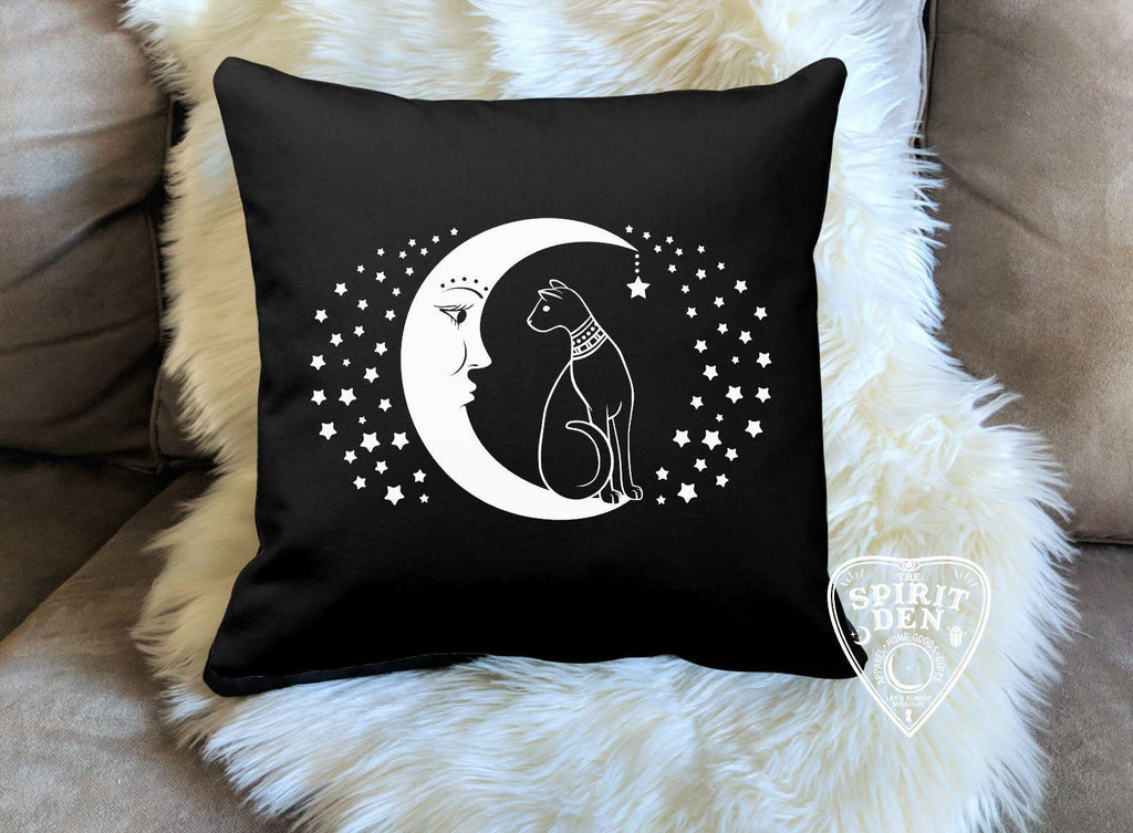 Cat and the Moon Black Pillow