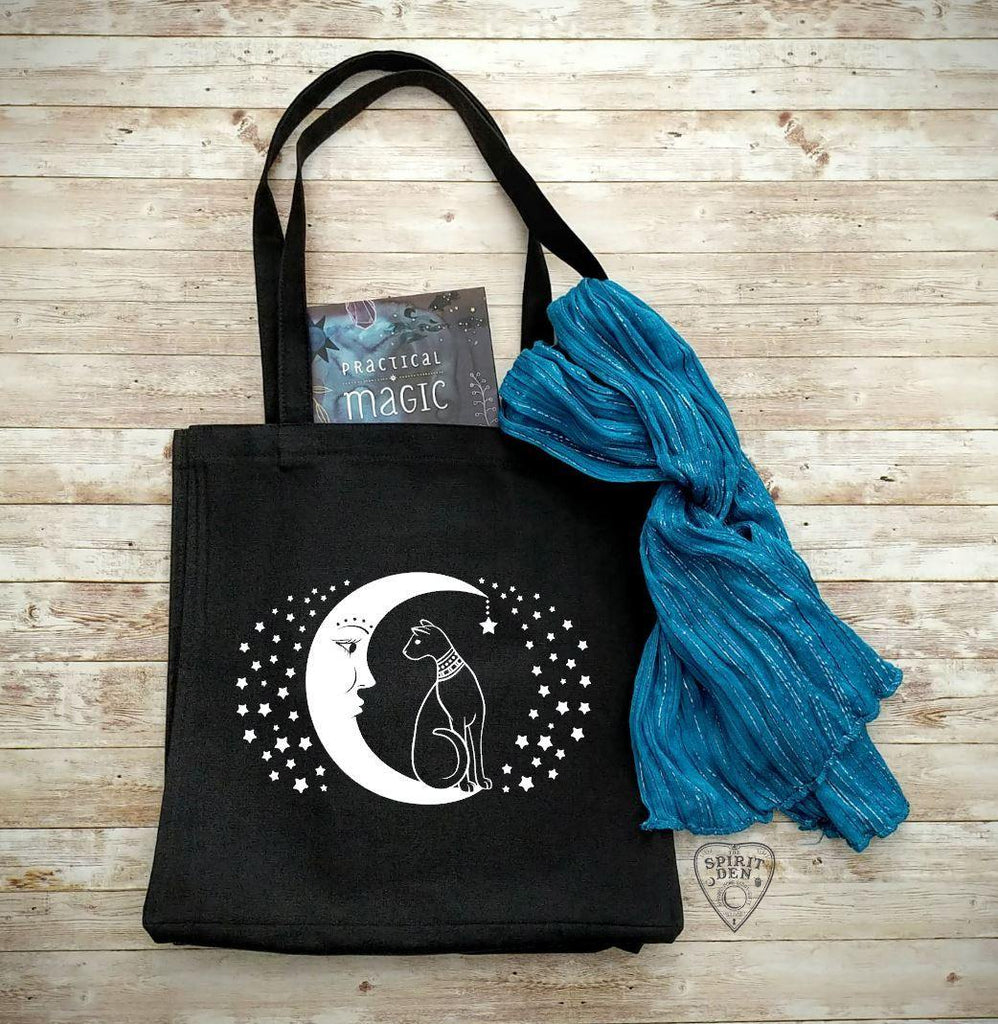 Cat and the Moon Black Cotton Canvas Market Tote Bag