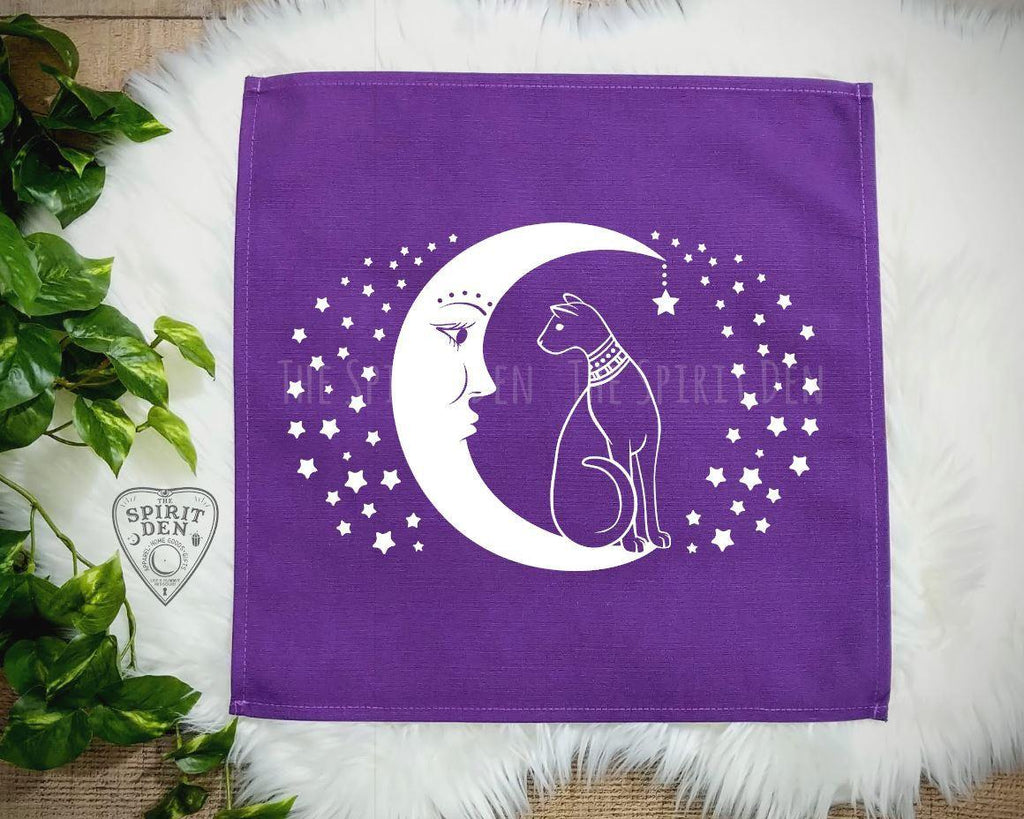 Cat and the Moon Purple Altar Tarot Cloth