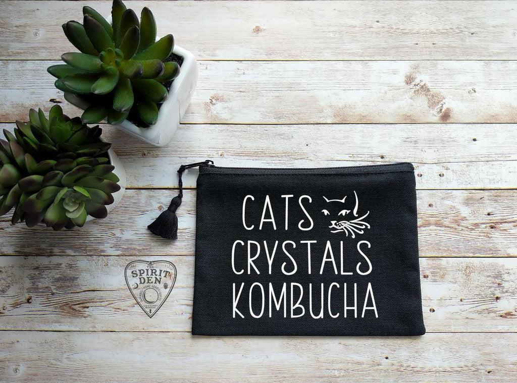 Cats Crystals Kombucha Black Canvas Zipper Bag