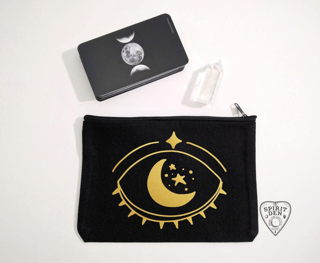Celestial Vision (Gold Design) Black Canvas Zipper Bag