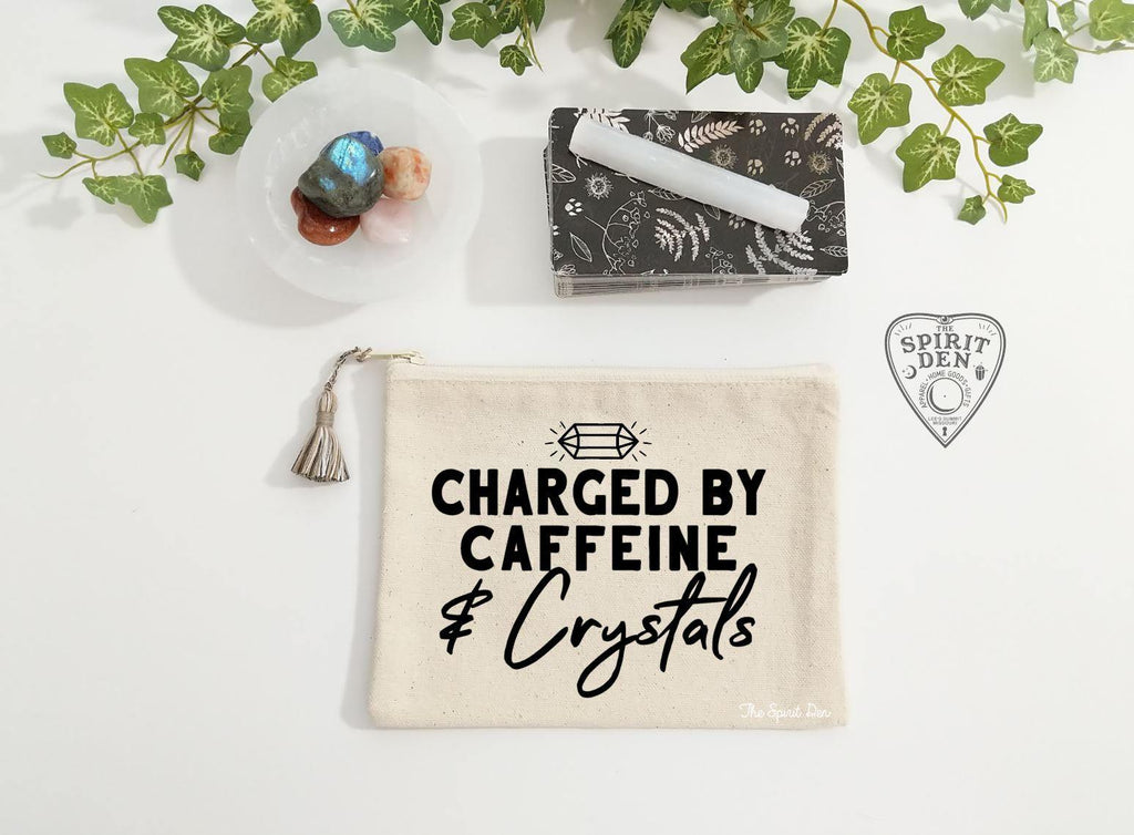 Charged By Caffeine and Crystals Natural Canvas Zipper Bag
