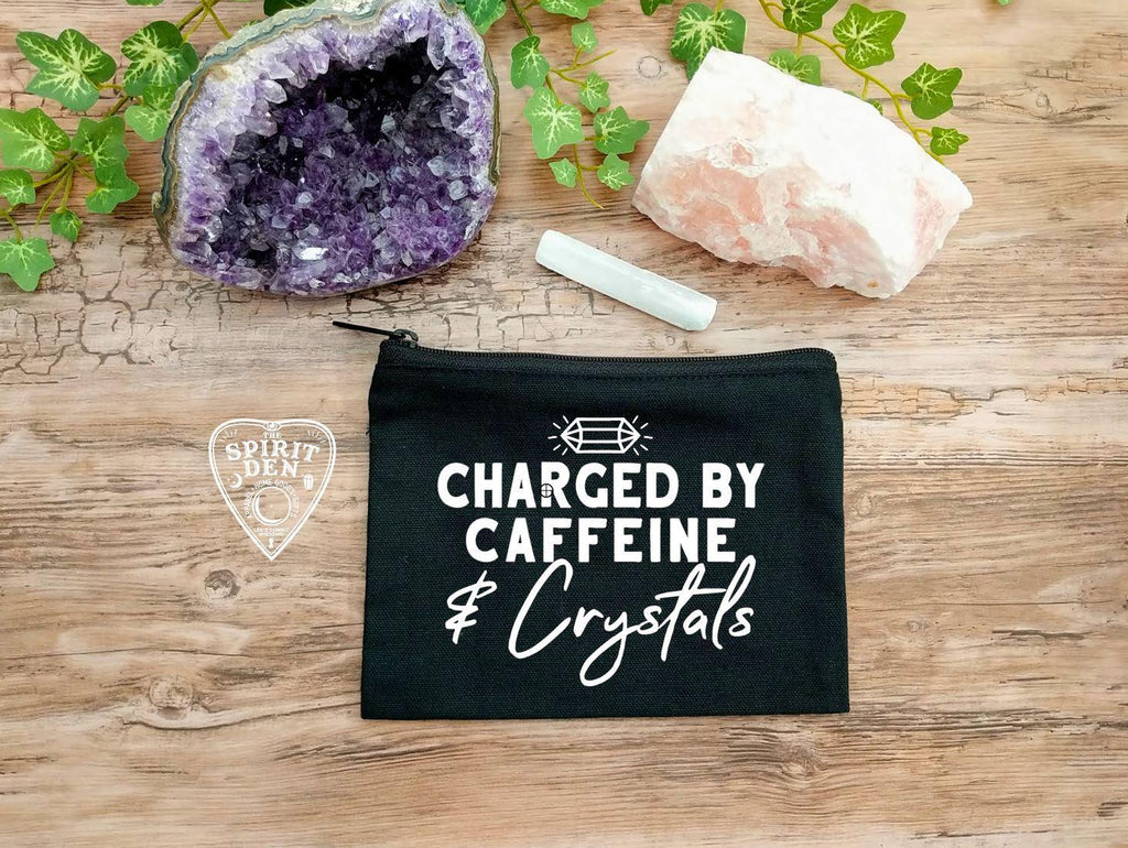 Charged By Caffeine and Crystals Black Canvas Zipper Bag