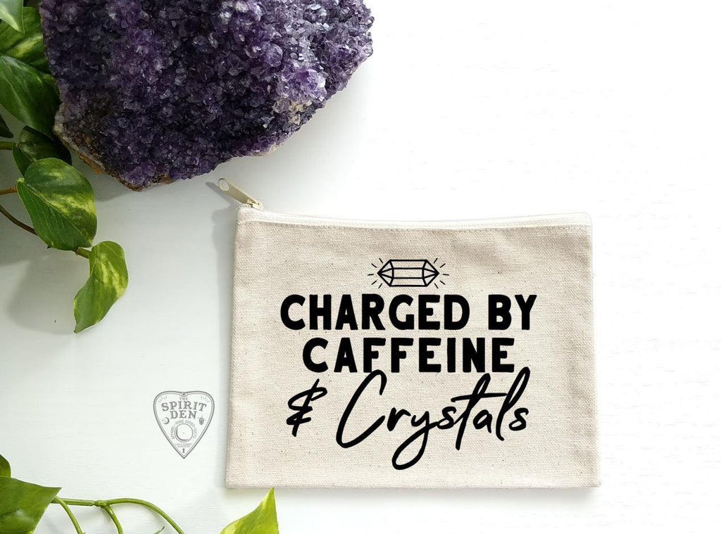 Charged By Caffeine and Crystals Natural Canvas Zipper Bag - The Spirit Den