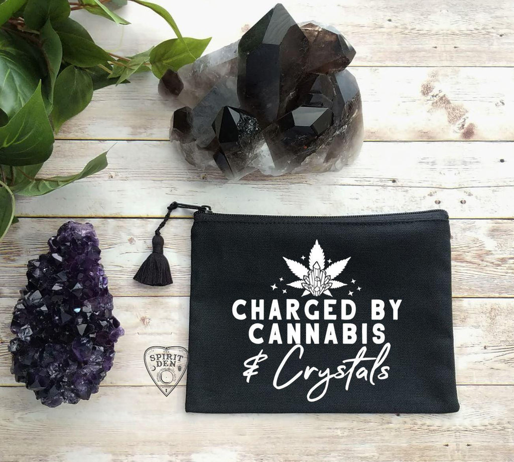 Charged By Cannabis and Crystals Black Canvas Zipper Bag - The Spirit Den