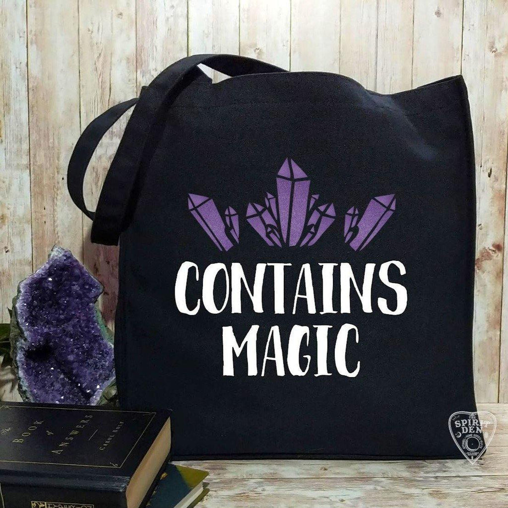 Contains Magic Quartz Crystal Cotton Black Canvas Market Tote Bag