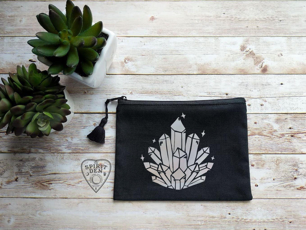 Cosmic Crystal Cluster Black Zipper Bag