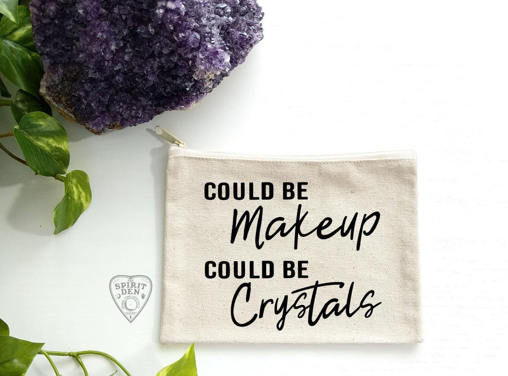 Could Be Makeup Could Be Crystals Natural Zipper Bag