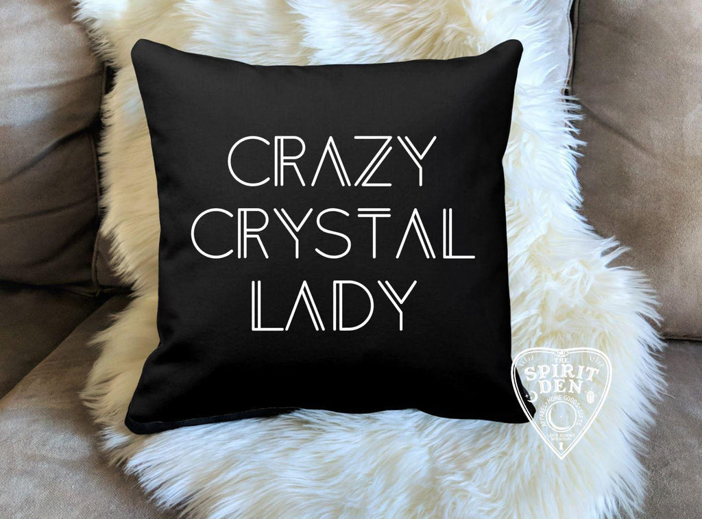 Crazy Crystal Lady Black Pillow