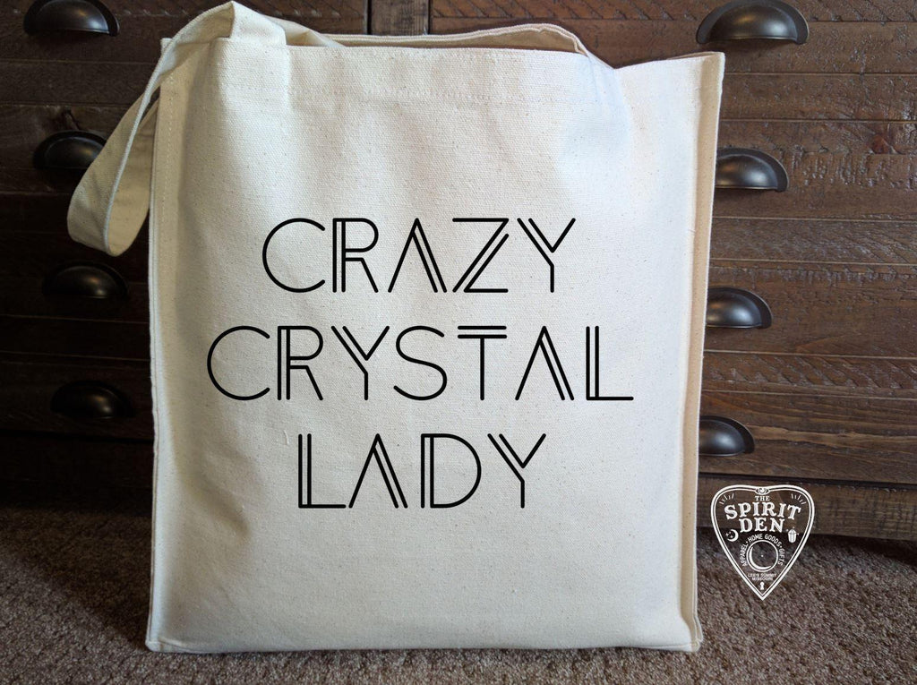 Crazy Crystal Lady Cotton Canvas Market Tote Bag - The Spirit Den