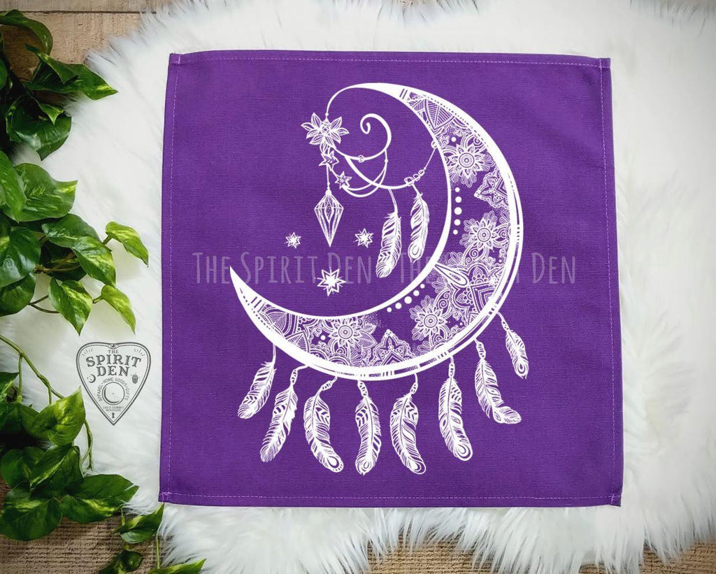 Crescent Moon Catcher Purple Altar/ Tarot Cloth - The Spirit Den