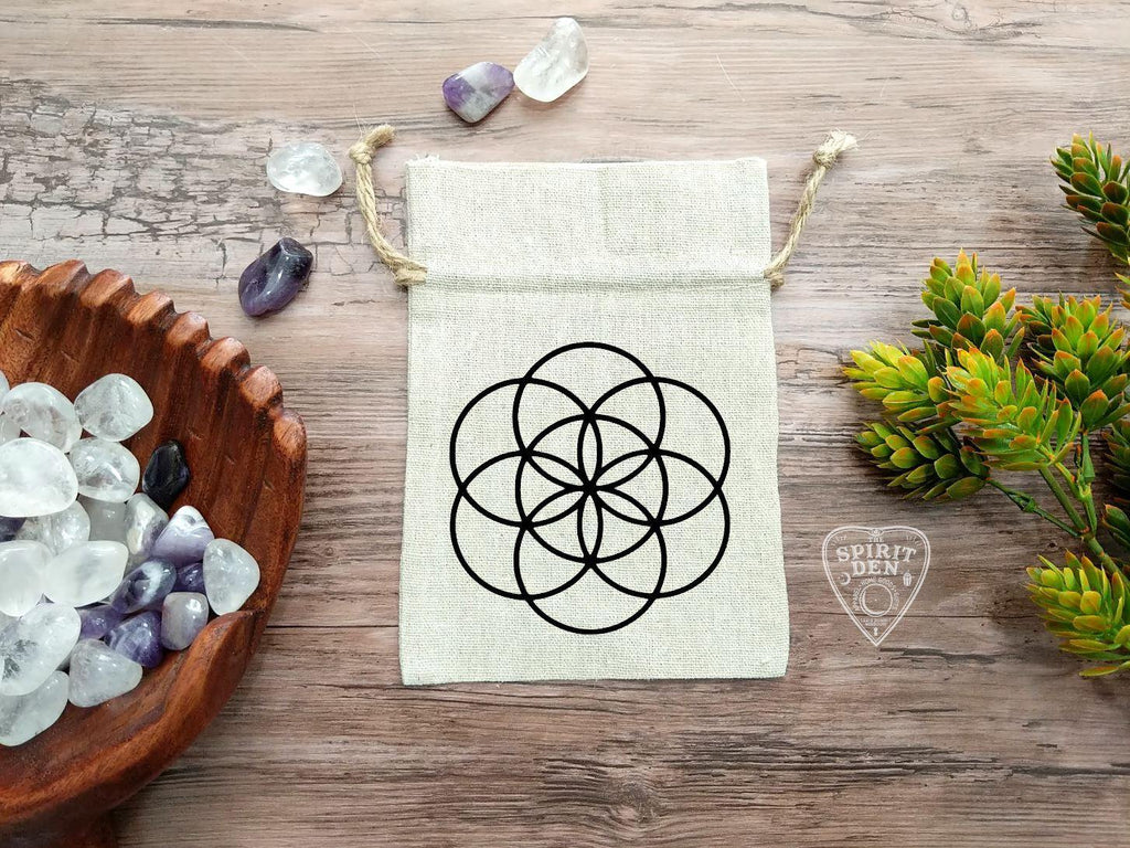 Seed of Life Crystal Grid Drawstring Cotton Linen Bag