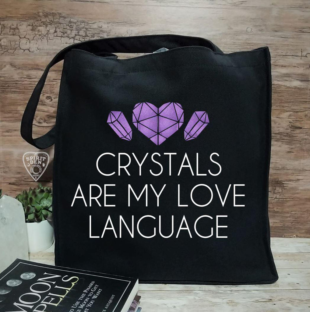 Crystals Are My Love Language Black Canvas Tote Bag